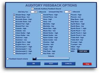 air auditory feedback options